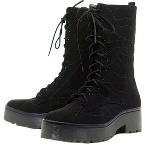 Iron Fist spider web combat boots gothic boots